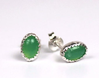 Chrysophase Earrings, Gemstone Earrings, Earstuds, Sterling Silver Earrings, Gemstone Ear Studs