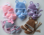 Crochet Baby Hat - Crochet Baby Booties - You pick color and Size - Ready to Ship