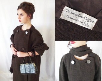 Vintage Christian Dior Originals Trapeze Coat - Vintage Designer Coat - 1940s 1950s Tweed Double Breasted 3/4 Sleeve with Fringed Scarf