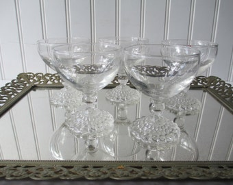 Vintage Anchor Hocking Clear Bubble Champagne/Tall Sherbers Set of Five