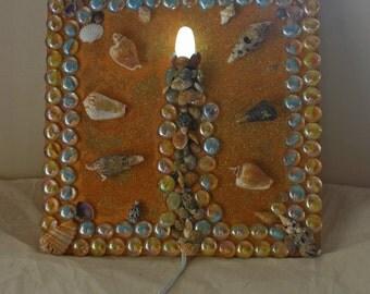 Day at the Beach Wall Sconce Light Handmade Beach Themed Light Wall Sconce Sand Seashells Glass Pebbles Glitter