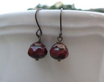 Dark Red Earrings,  Antiqued Brass, Small Bead Earrings, Czech Beads, Czech Glass, Irisjewelrydesign