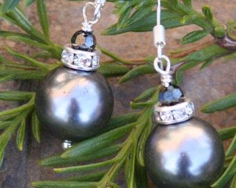 Christmas Holiday Dark Gray Silver Ornament Balls DeSIGNeR Earrings Glass Pearls Rhinestones Swarovski N Sterling Silver