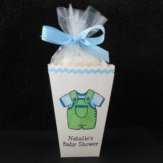personalized baby shower popcorn box favor boxes blue and green