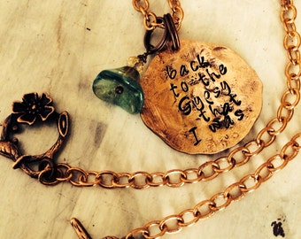 Rustic Gypsy Stevie Nicks Style Copper necklace or bracelet ~ hand hammered penny ~ customize with your WORDS ~ metal stamped