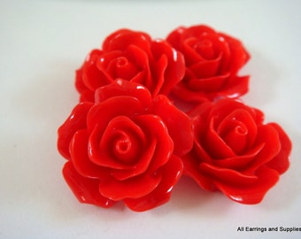 BOGO 4 Red Cabochon Flower Opaque 18mm - No Holes - 4 pc - CA2004-RD4 - Buy 1, Get 1 Free - No coupon required