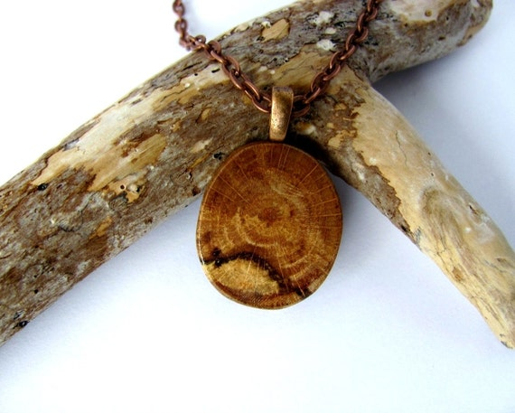 Wood Necklace Pendant Eco Friendly Branch Reclaimed Rustic Handmade Wooden Jewelry by Hendywood