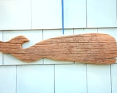 Weathered wood whale carving plaque
