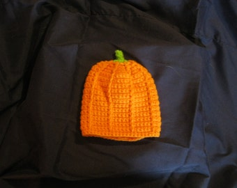 Crocheted Pumpkin Cap Childs Size Boy Girl Halloween Thanksgiving New Mom Shower Infant Newborn Gift Present