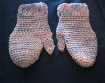 Pink Crocheted Mittens Sized to Fit Girls Ages 6 to 10 Gift Present Christmas Birthday Valentine Day