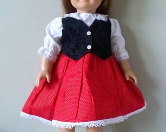 Handmade Doll Clothes Black velvet vest Dress fits any 18 inch doll