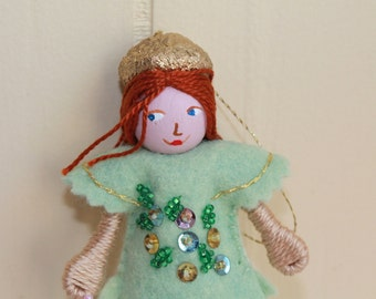 Easter hanging ornament Pistachio Green Piksee Felt Art Doll