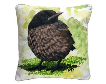 Cushion cover for throw pillow with bird - Baby Blackbird - 16x16inch // 40x40cm