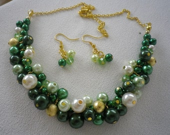 Emerald Green Gold and Ivory Cluster Necklace and Earrings