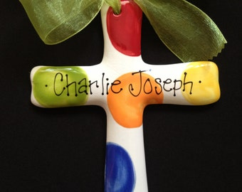 Baptism Cross - Children's Hand Painted Brightly Colored Ceramic Cross - Great Baptism, Christening or Shower Gift