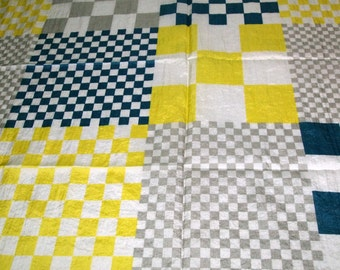 SALE vintage 80s novelty fabric, featuring awesome checkerboard print, 1 yard, 25 inches