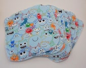 Cloth Baby Wipes for Cloth Diapers, Boyish Themed.  Set of 10, Large 7x8 size. Seconds sale.