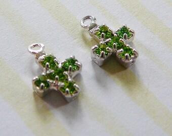 Vintage ..Rhinestone Teeny Tiny Cross Charm, Silver Tone, Peridot green Drop Dangle