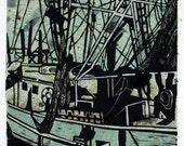 "handmade & hand-cranked  ""Shrimp Boat"" 8"" x 10"" coastal linocut printmaking print"