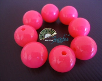 20mm Round Fluorescent Pink Acrylic Beads, Neon Colors, 20mm - 8x