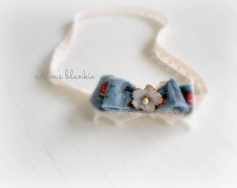 Americana - Cream Ivory White Blue Red - Bow Lace Headband - Baby Infant Newborn Girls Adults - Photo Prop - Wedding Baptism