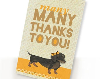 Printable PDF Cute Dachshund Dog Thank You Card Many Thanks Yellow, White, Clever, Fun