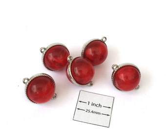 Red  Acrylic 20mm Round Silver Framed Connectors, Set of 5, 1052-17A