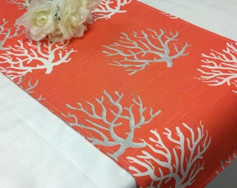 CORAL TABLE RUNNER - Salmon Table Runner, coral Napkins or Placemats,  white grey coral reef linen, Nautical, Beach Wedding, Dresser Runner