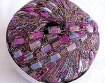 PURPLE PASSION Metallic glitter ladder ribbon yarn, Berlini East Track II,  shades of blue, lilac, orchid, purple,   83