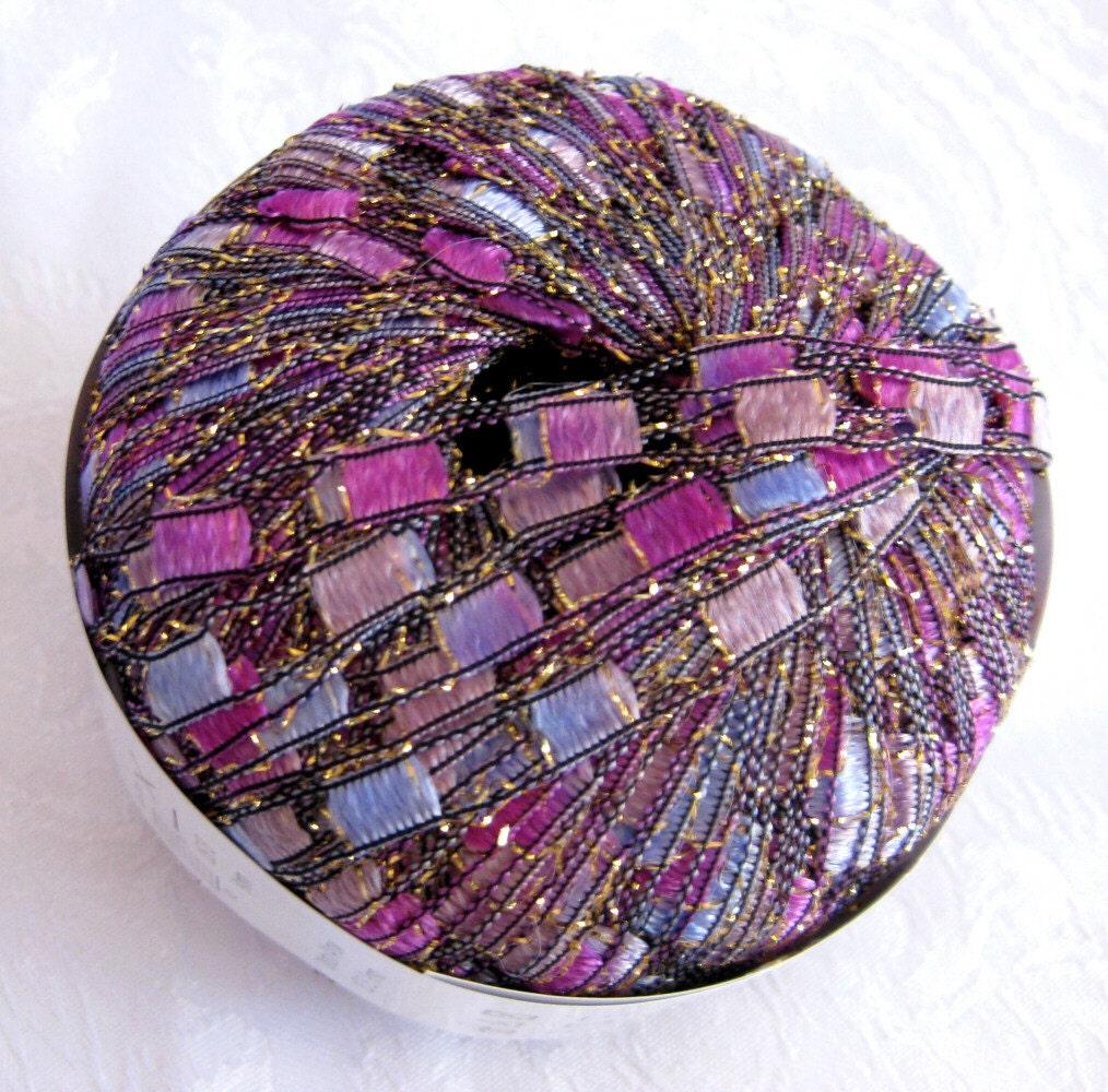 PURPLE PASSION Metallic Glitter Ladder Ribbon Yarn By