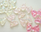 9 pcs Clear Star Sprinkles Bow Cabochon (27mm35mm) IK181