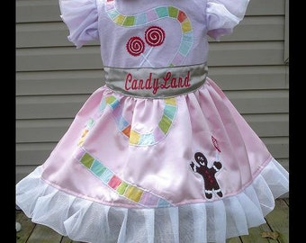 CandyLand Board game inspired Dress(-----)Game Path-Gingerbread Man-Lollipops(-----)Satin Fabric(-----)Sizes 18 Months-Girls size 8