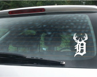 Michigan - Detroit D with anlters  Vinyl Car Window Decal