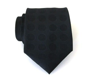 Mens Ties Black Dots Mens Necktie