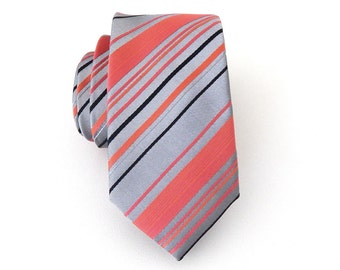 Necktie Coral and Gray Stripes Mens Skinny Tie