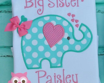 Elephant Applique Short Sleeve shirt-  Custom made, Personalized Big Sister Big Sis