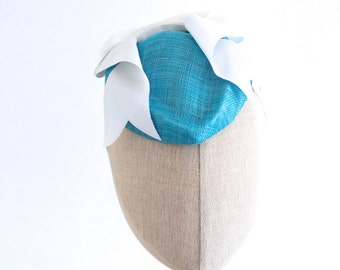 Turquoise Straw Hostess Cocktail Hat White Bow Sinamay Fascinator