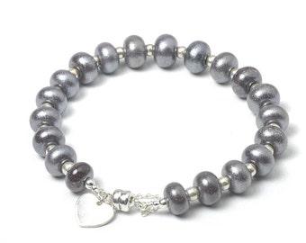 Grey Beaded Bracelet | Pewter Heart Bracelet in Sterling Silver and Lampwork Glass | UK SRA