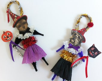 Yorkipoo HALLOWEEN WITCH vintage style chenille ORNAMENTS set of 2 feather tree