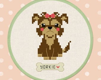 Cute Yorkshire Terrier. Yorkie Cross Stitch Pattern PDF File