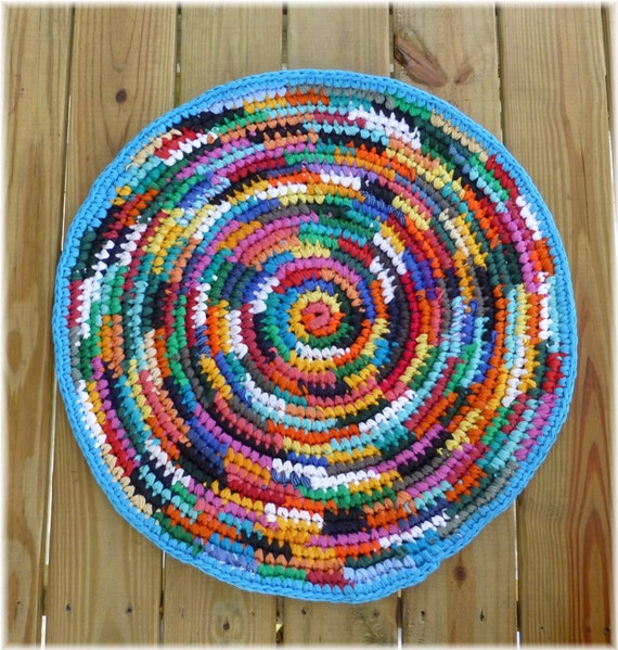 Rag Rug Round Multi Color Recycled Eco Friendly By