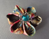Hand Folded Flower Hair Clip (Tsumami Kanzashi) Japanese Fabric Pink, Green, Gold, Black Green and Blue