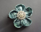 Hand Folded Teal and Green Kanzashi Fabric Flower Hair Clip with Vintage Rhinestone Button Center