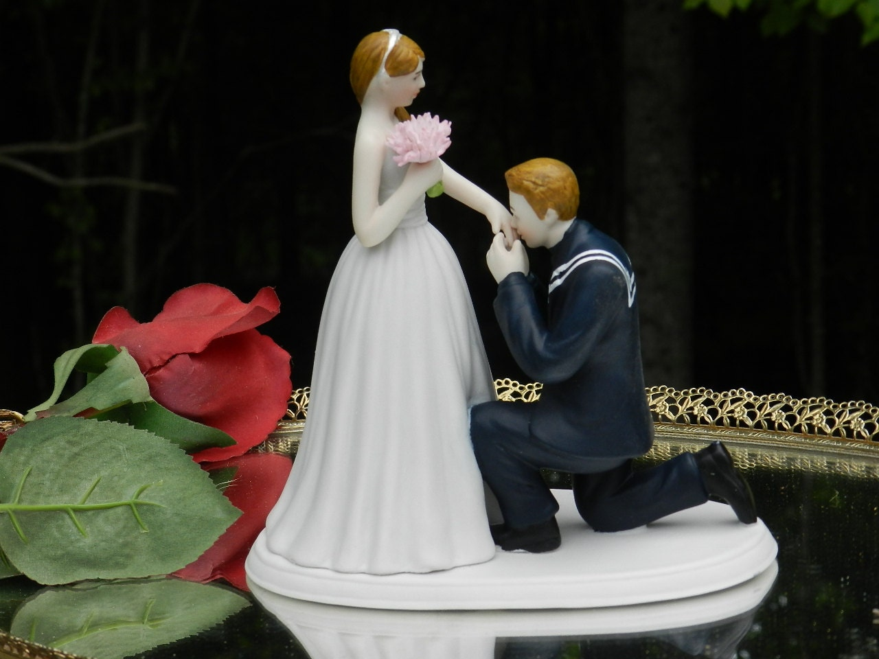 Usn Navy Sailor Kiss Military Prince Wedding Cake Topper