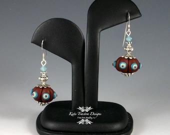 Samovar Earrings, Polymer Clay, Chocolate Brown / Seafoam Pumpkin Bead