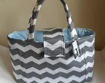Large Gray and White Chevron with Light Blue Diaper Bag Tote