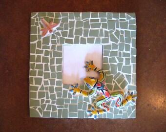 Mosaic  Talavera Frog Mirror