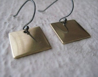 Brass & Sterling Silver Square Earrings, Oxidized