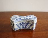 Vintage blue and white porcelain box with lid