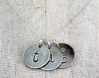 Three Letter Charm Necklace, Sterling Silver Lowercase Typewriter Style Hand Stamped Chelsea Trio by E. Ria Designs